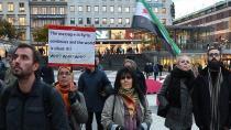 Halep saldırıları İsveç'te protesto edildi