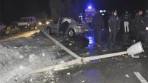 Konya'da iki otomobil çarpıştı: 1 polis yaralı