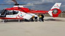 Zincirlikuyu'da Kalp krizi geçiren yaşlı adam ambulans helikopterle hastaneye götürüldü